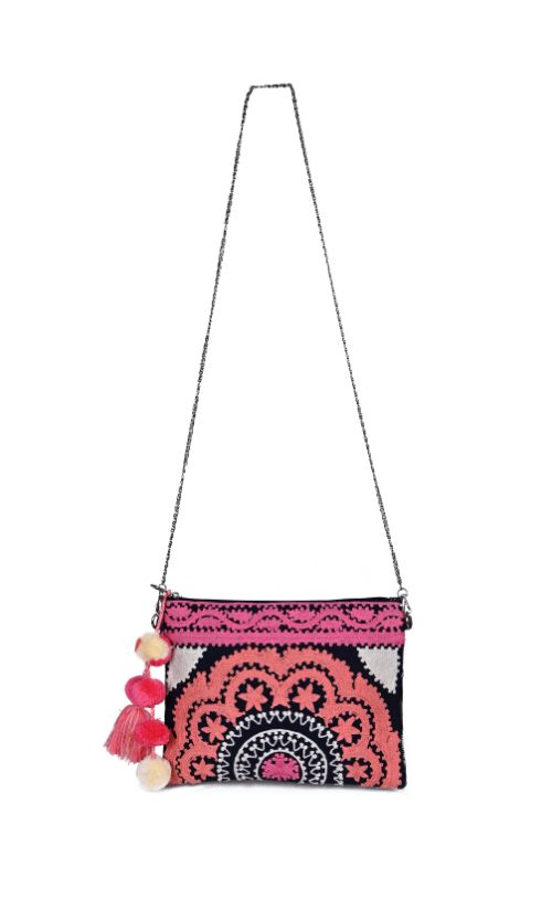 Fusion Coral Embroidered Clutch