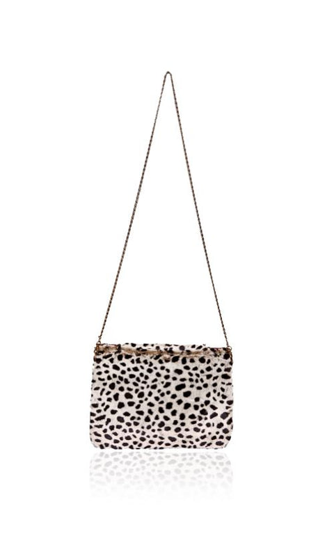 Albino Cheetah Fur Flap Clutch
