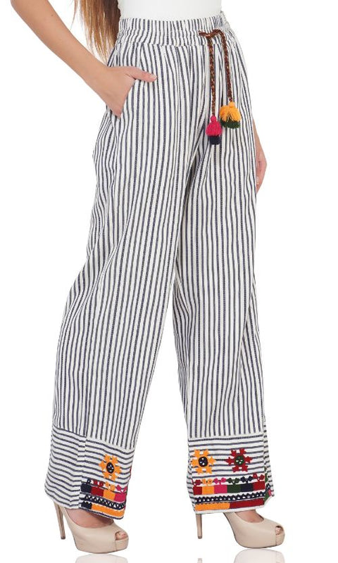 Set of 6 Indie Ink Striped And Embroidered Wide Leg Trousers