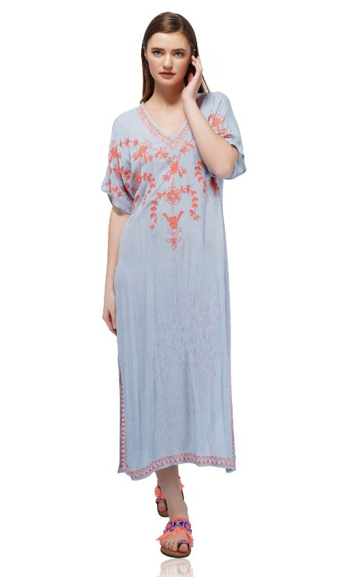 Set of Six Powder Blue Embroidered Long Cover-UP