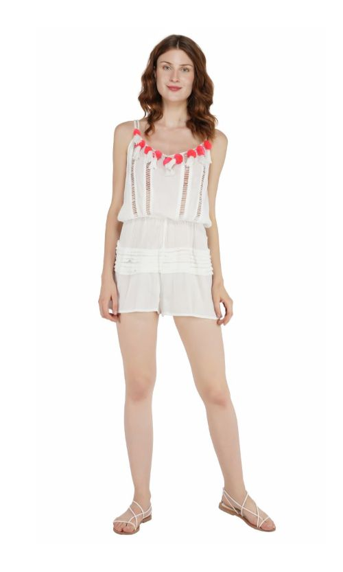 Set of Six White Rayon Crepe Romper