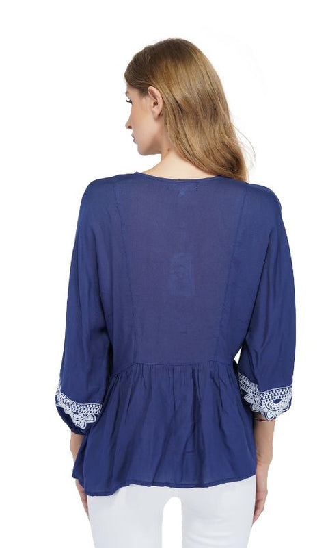 Set of Six Gray Dawn Embroidered Blouse-navy
