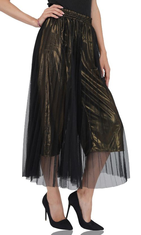 Golden Haze Pleated Net Trousers