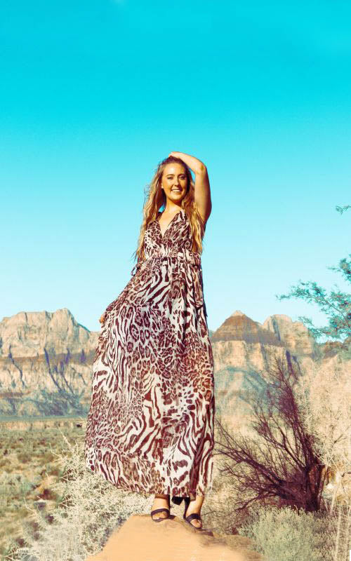 Rose Tan Animal Print Maxi Dress