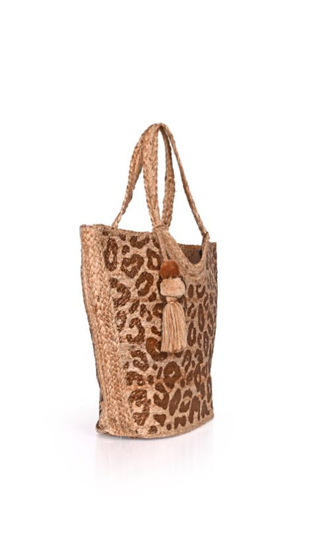 Leopard Gold Foil Print Jute Tote With Tassel