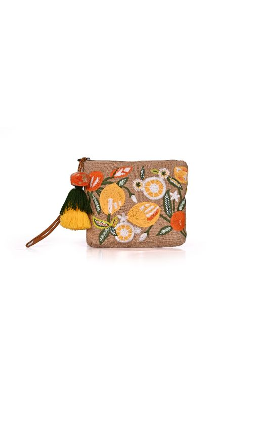 Lime N Lemon Embroidered Clutch