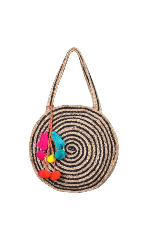 Raven Stripe Eco-Friendly Jute Round Tote