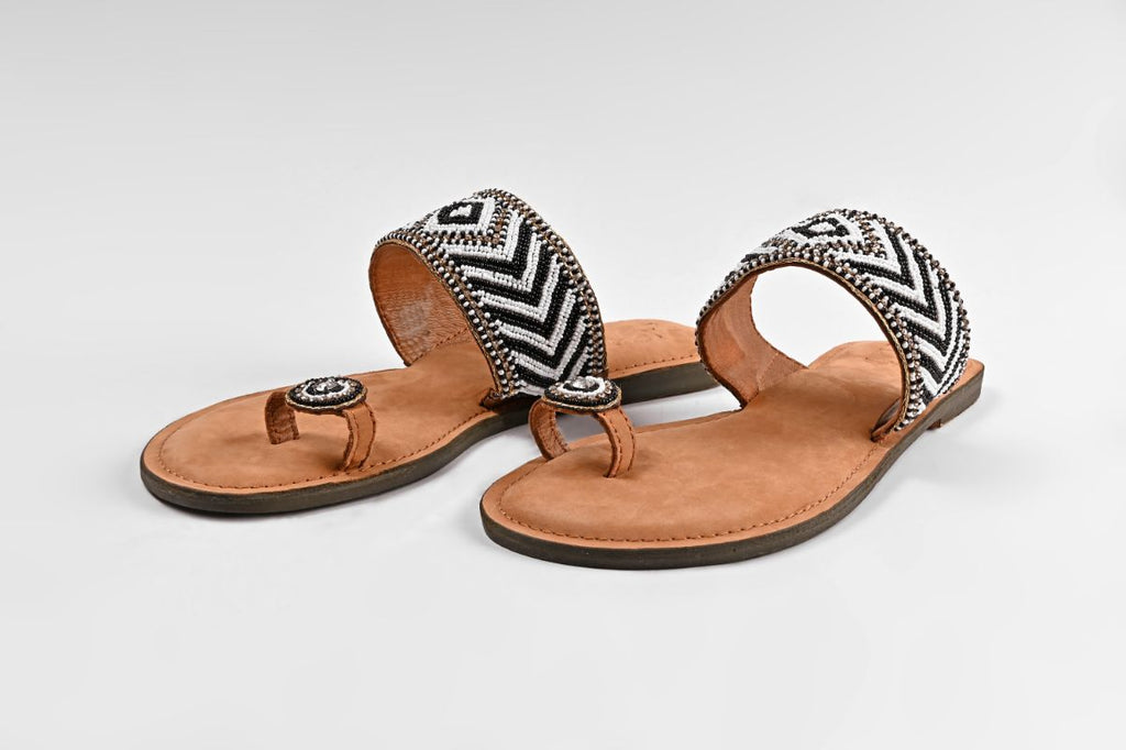 Set of Six Aztec Beaded Toe Ring Sandals