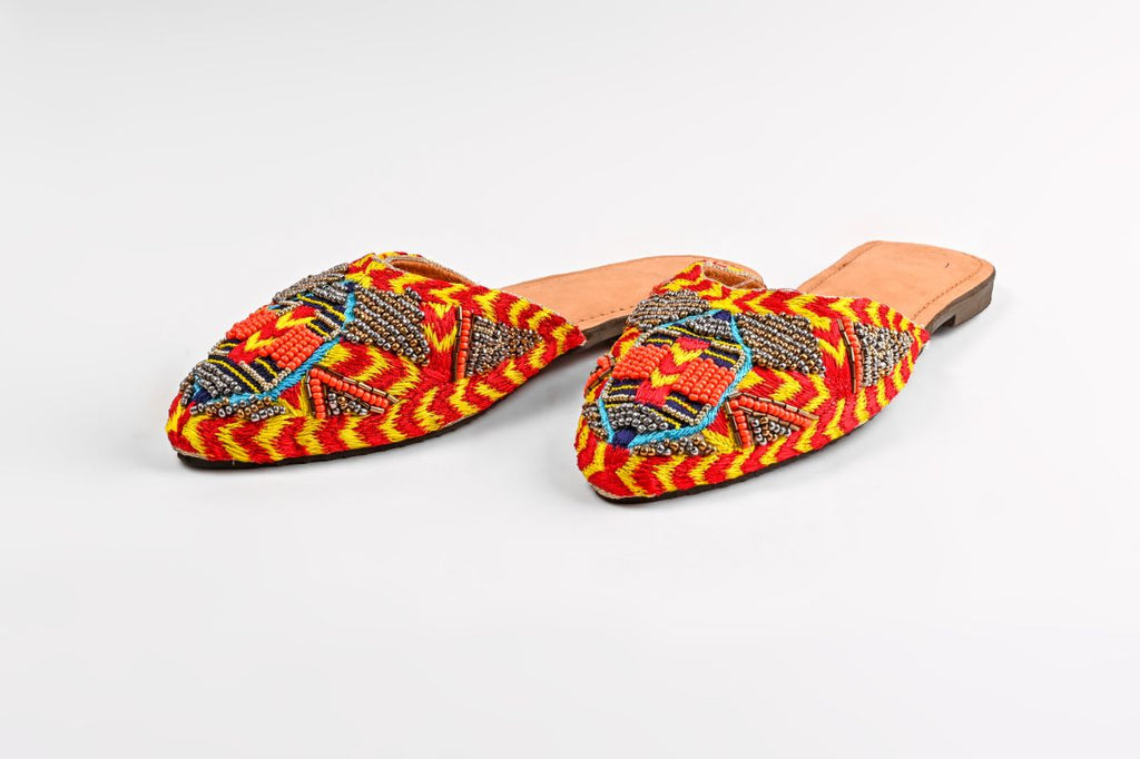 Set of Six Navajo-Beaded Slip On Shoes
