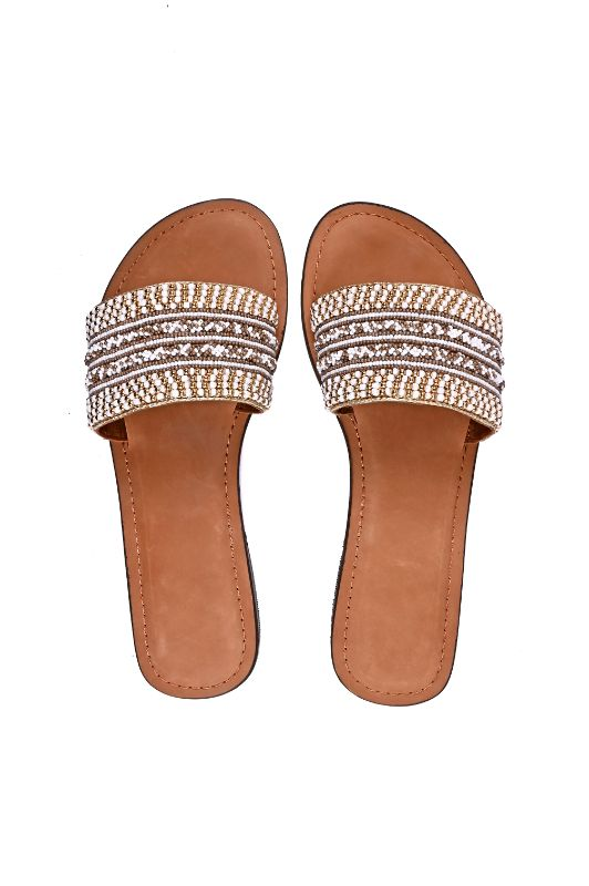 Set of Six Ivory White Slip-On Sandals