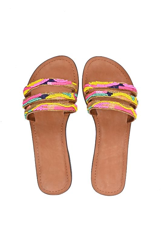 Set of Six Daphne Embellished Slip-On Sandals