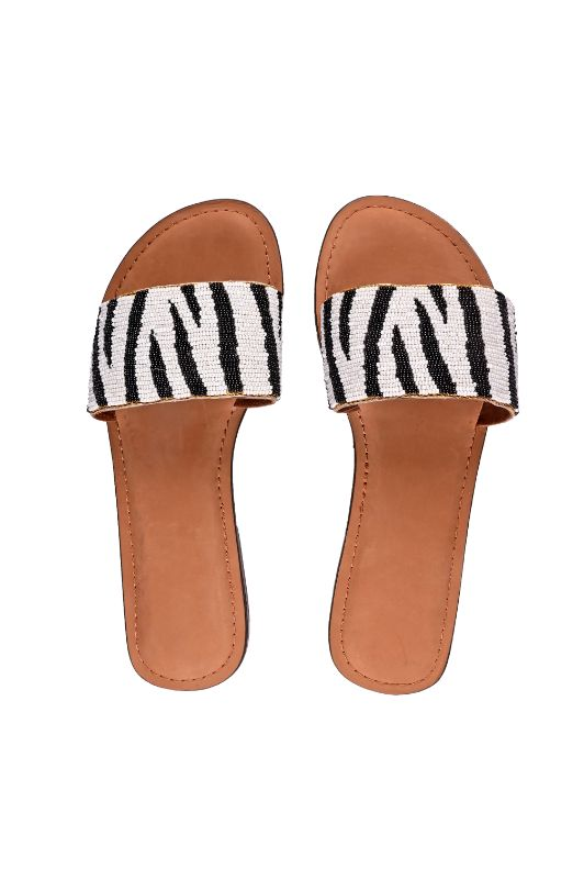 Set of Six Zebra Slip On Sandals