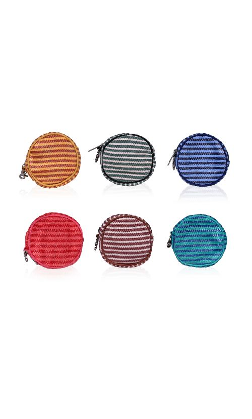 Set of Six Round Coin Purse in stripe durries