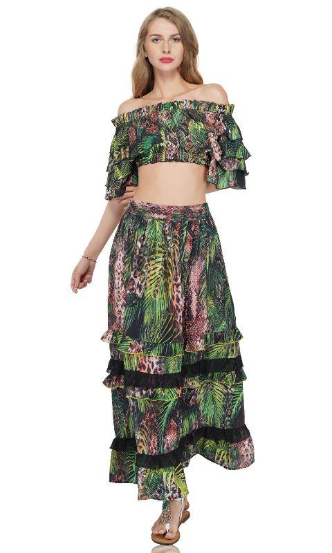 Willow Bough Jungle Print Ruffle Cropped Top