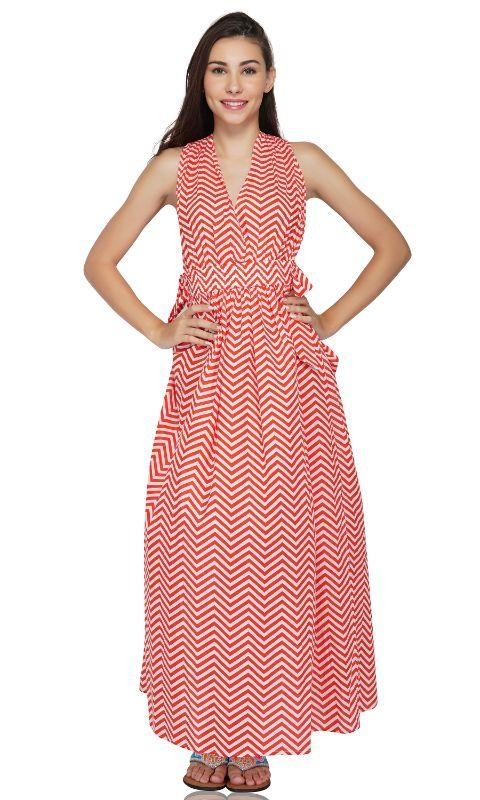 Grenadine cheveron Maxi Dress