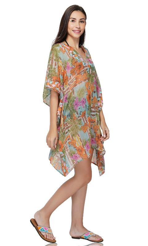 Pool Blue floral beach Embroidered Kafatn