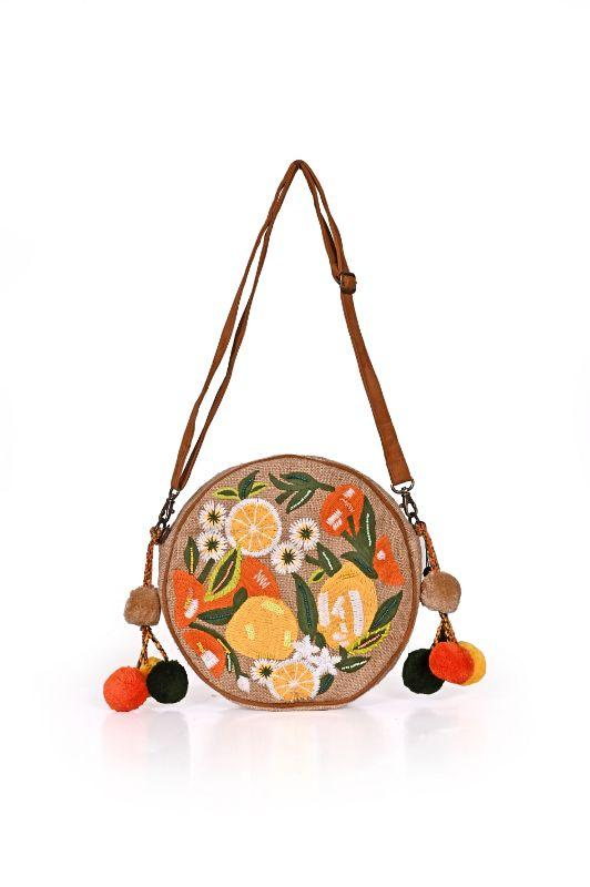 Lime N Lemon Embroidered Round crossbody bag