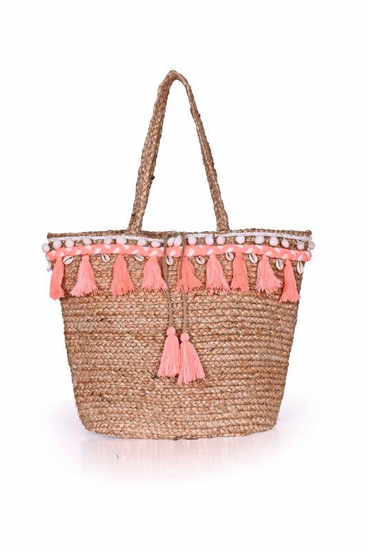 Mexicana Embroidered Jute Tote-Neon Pink