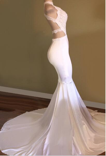Ballbella offers Trendy White Mermaid High-Neck Sleeveless Prom Party Gowns at a cheap price from Stretch Satin, Lace to Mermaid hem. Gorgeous yet affordable Sleeveless Prom Dresses, Real Model Series.