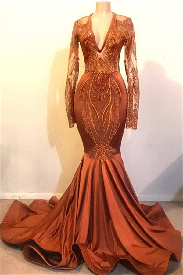 Mermaid Deep V-neck Long Sleeve Floor Length Chiffon Embroidery Prom Dress