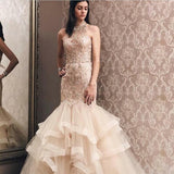 Elegant Mermaid Light Champagne Tulle High Neck Beading Prom Dress,  Evening Dress. Free shipping,  high quality,  fast delivery,  made to order dress. Discount price. Affordable price. Shop Ballbella Official.