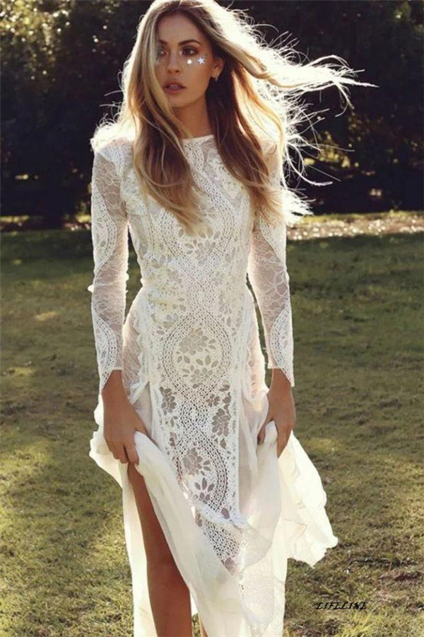 Classic Beach Long Sleevess Backless Lace Beach Wedding Dress Simple Summer Casual Bridal Gowns Online