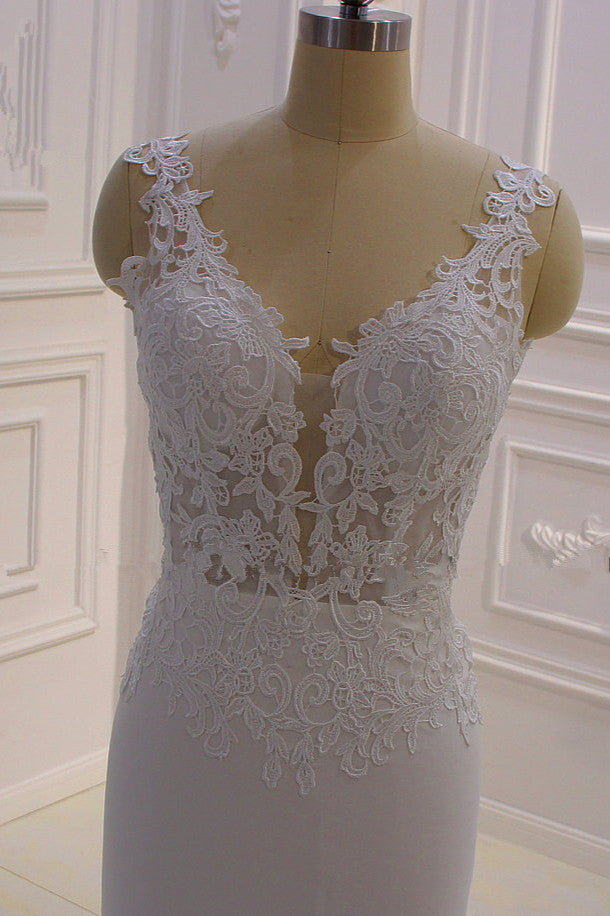 Ballbella custom made you this Classic Sleeveless Lace V-neck Column White Court Train Wedding Dress comes in all sizes and colors. Welcome to pick the most fabulous style today, extra coupons to save a lot.