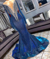 Mermaid Transparent Deep V-neck -Round Collar Floor Length Sequin Fringe Prom Dress