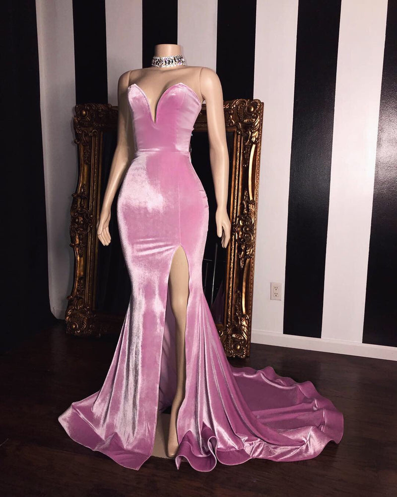 Mermaid Sweetheart Spaghetti Strap Court Front Slit Ruffle Hem Prom Dress