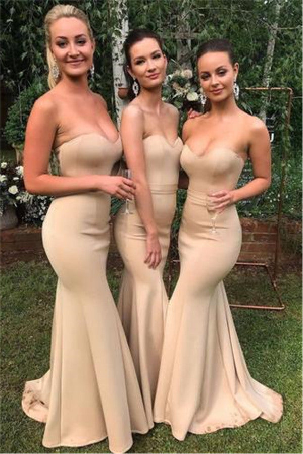 Sweetheart Sleeveless Mermaid Wedding Party Dress Slim Bridesmaid Dress