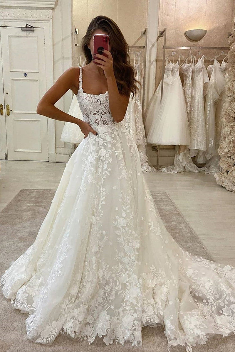 A-line Spaghetti Strap Floor Length Tulle Applique Wedding Dress