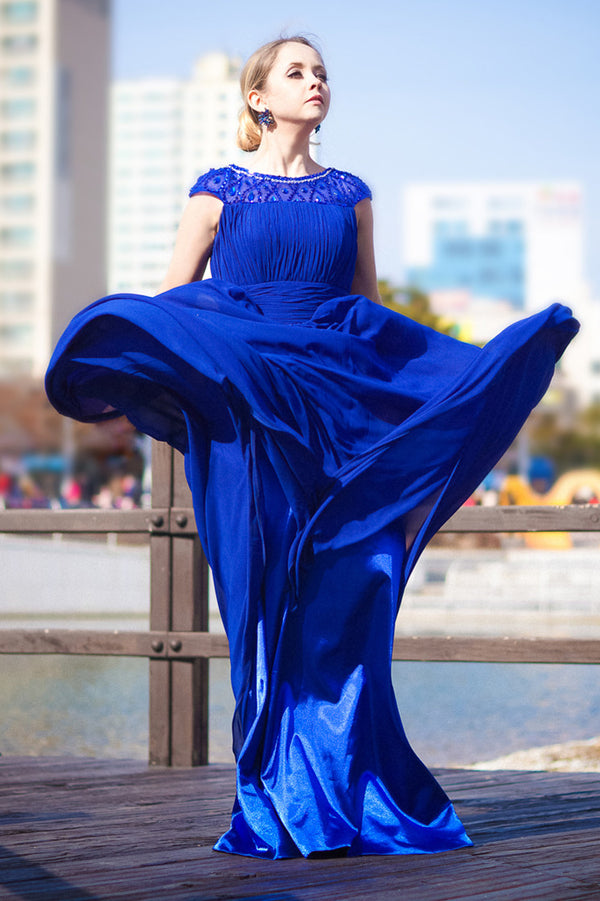 A-line Round Collar Floor Length Chiffon Rhinestone Evening Dress