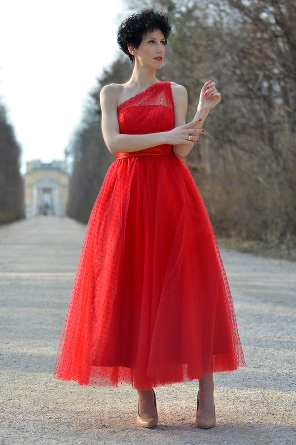A-line One-shoulder Floor Length Sleeveless Tulle Evening Dress