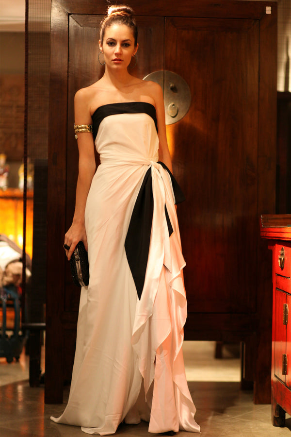 A-line Strapless Front Slit Floor Length Bicolor Chiffon Evening Dress
