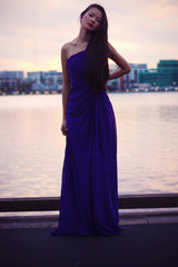 Sheath One-shoulder Sleeveless Floor Length Beaded Chiffon Evening Dress