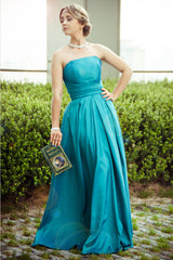 A-line Strapless Floor Length Sleeveless Chiffon Bridesmaid Dress