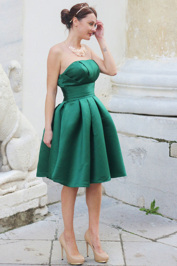A-line Strapless Knee Length Charmuse Sleeveless Bridesmaid Dress