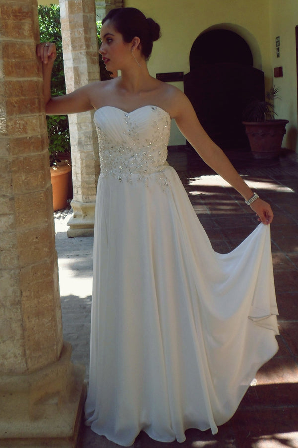 A-line Sweetheart Floor Length Chiffon Beaded Wedding Dress