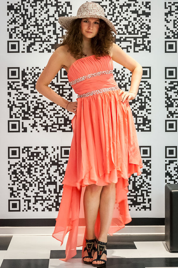 A-line Strapless Hi-low Length Chiffon Paillette Prom Dress