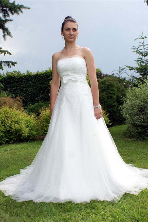 A-line Strapless Floor Length Tulle Applique Beaded Bow Wedding Dress