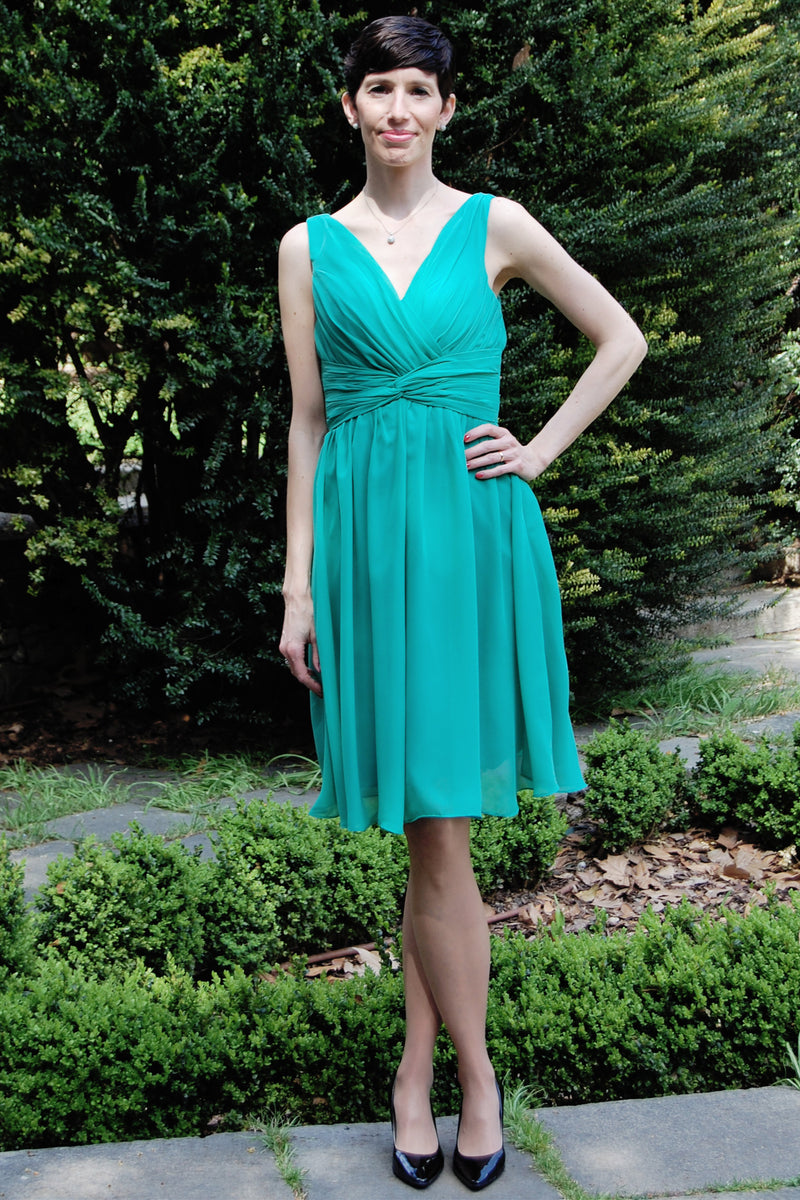 A-line V-neck Wide Strap Knee Length Chiffon Mother Dress