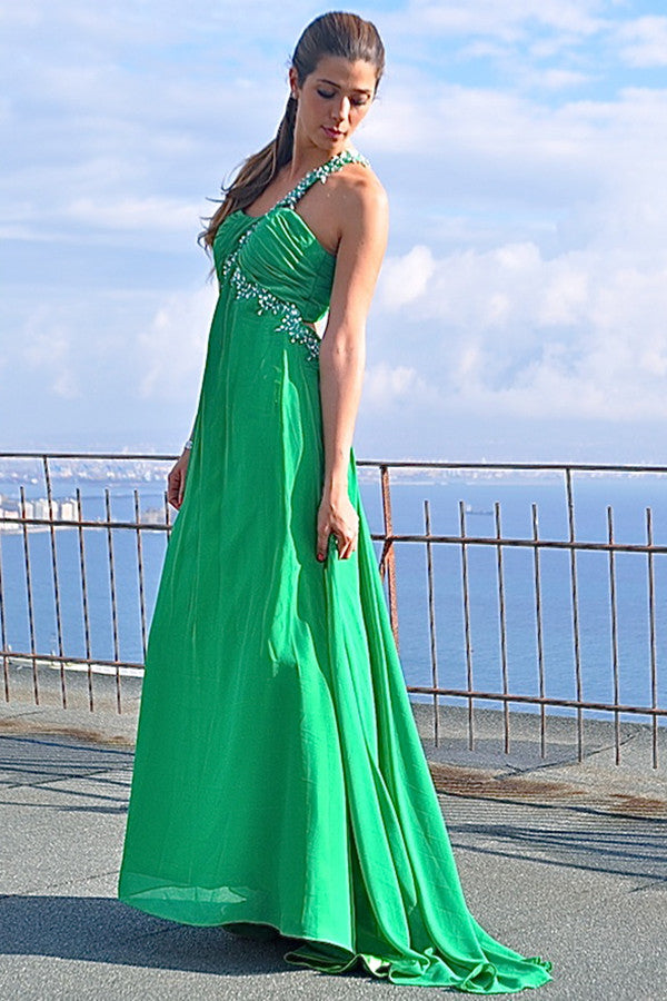 A-line One-shoulder Floor Length Chiffon Applique Backless Evening Dress