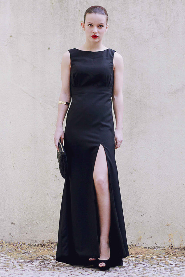 Sheath Small Round Collar Floor Length Front Slit Backless Chiffon Evening Dress