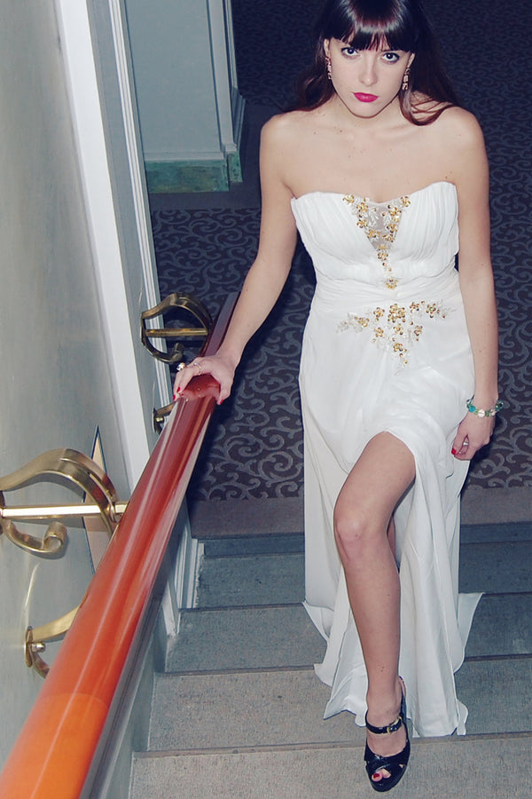 A-line Strapless Floor Length Chiffon Front Slit Rhinestone Wedding Dress