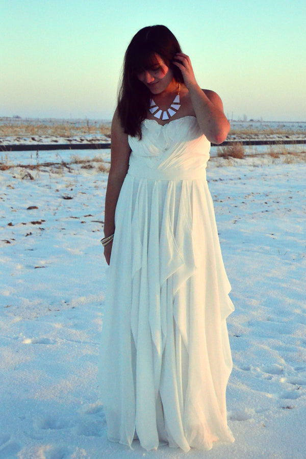 A-line Sweetheart Floor Length Chiffon Hem Special Wedding Dress