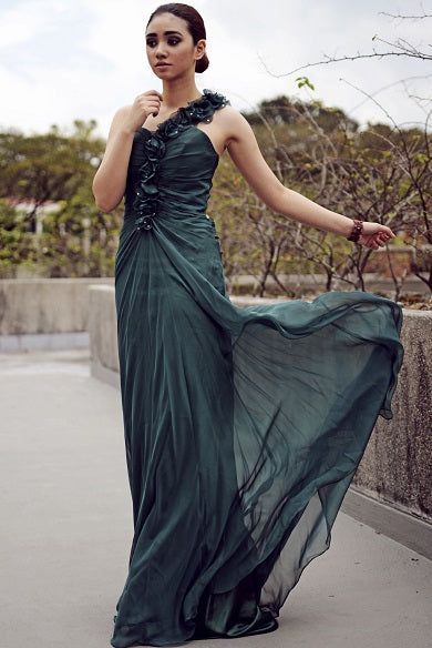 Sheath One-shoulder Floor Length Chiffon Backless Handmade Flower Evening Dress