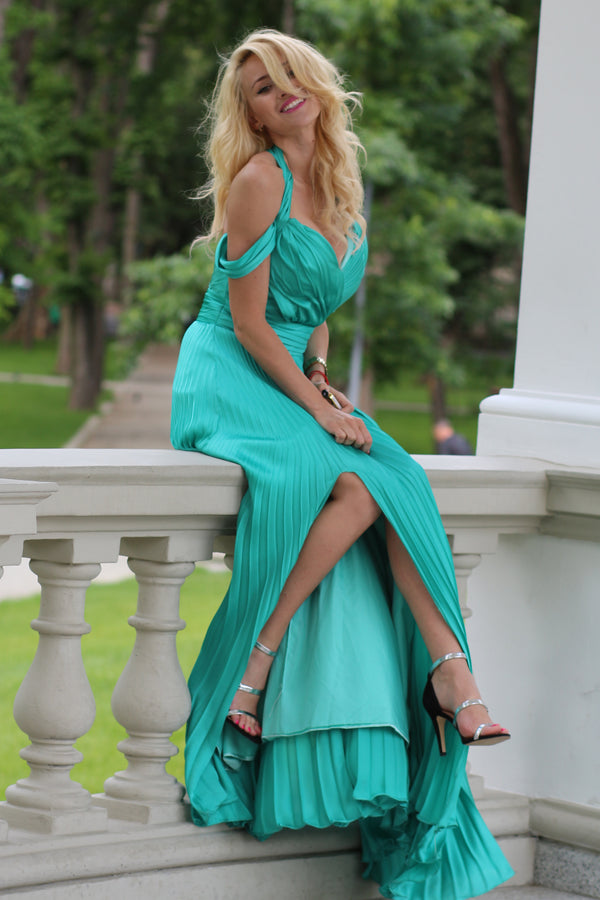 A-line Wide Straps Front Slit Floor Length Chiffon Evening Dress