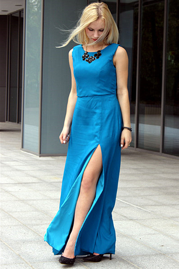 Sheath Small Round Collar Front Slit Floor Length Chiffon Evening Dress