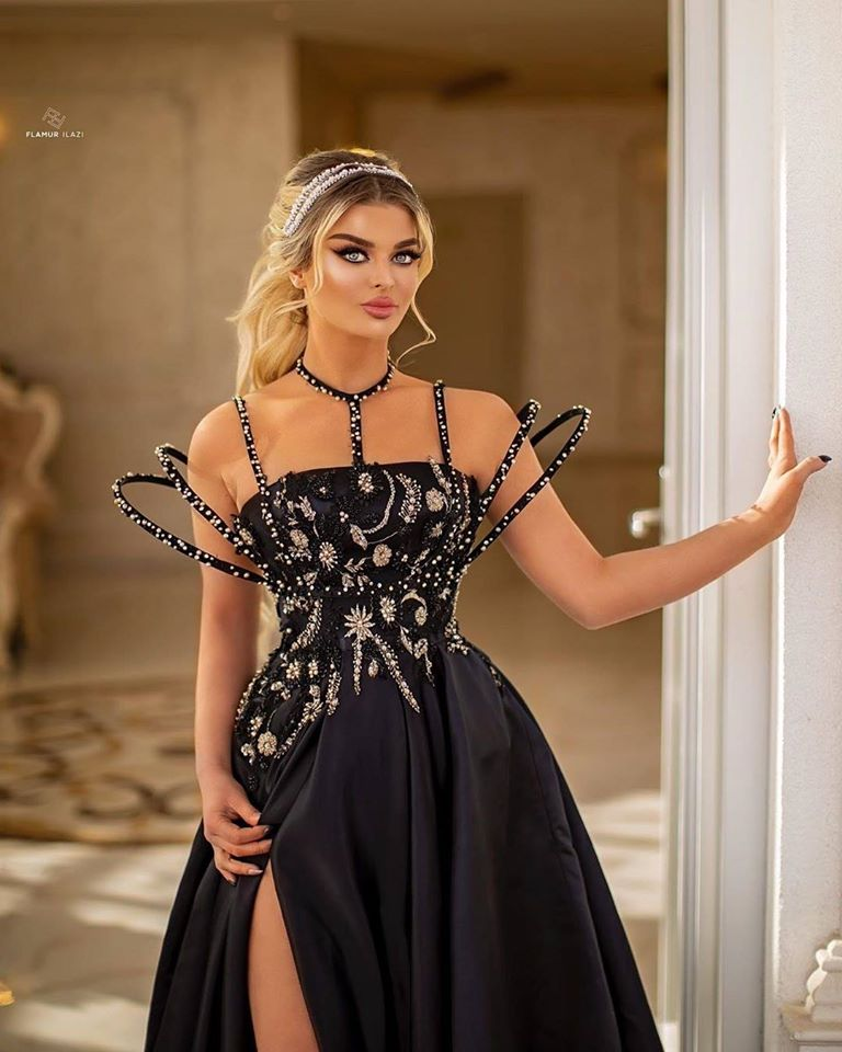 Ballbella offers Beaded Moon and Night Black Sparkle Sequin High Split Evening Dress On Sale at an affordable price from Satin to A-line Floor-length skirts. Shop for gorgeous Sleeveless Prom Dresses, Evening Dresses, Mother dress collections for your big day.