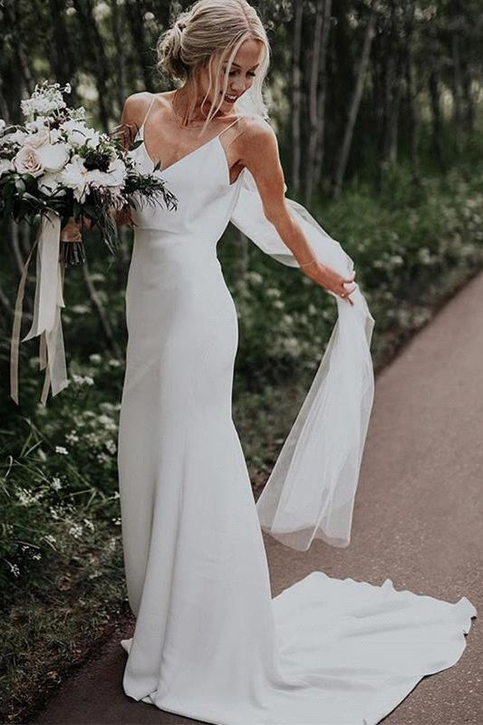 Ballbella custom made you this Summer White Beach Column Beach Court Train Wedding Dress comes in all sizes and colors. All sold at factory price.